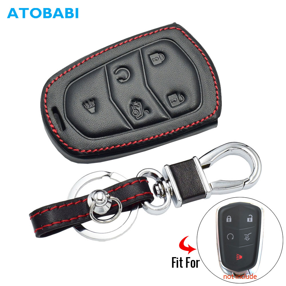 5 Buttons Real Leather Car Key Case For Cadillac SRX 2015 2016 ATS CTS CT6 XT5 XTS Smart Remote Fob Cover Keychain Protector Bag