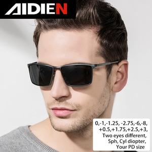 Image 1 - Men Myopia sunglasses with diopter polarized  prescription glasses retro anti glare driving sun glasses UV400 square black shade