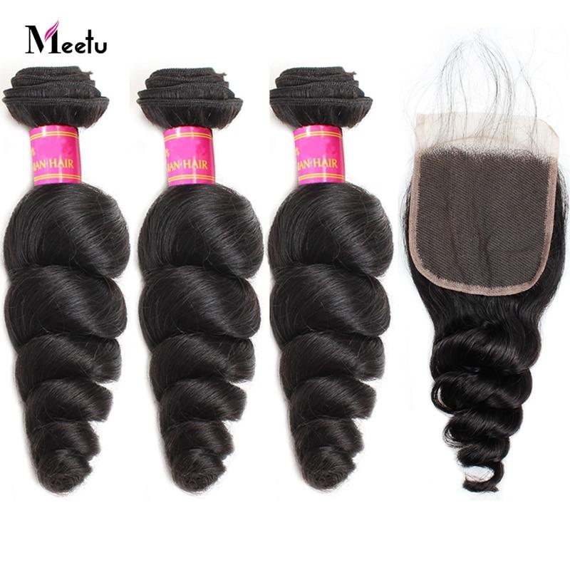 Meetu Brazilian Loose Wave Bundles With Closure Non Remy Human Hair 3 Bundles with Closure Brazilian Hair Bundles with Closure