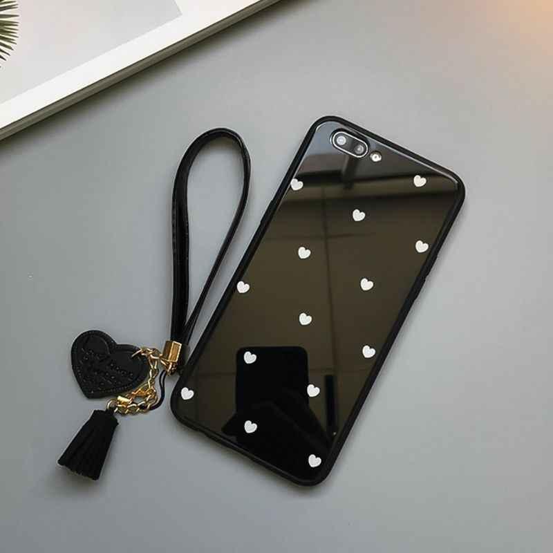 Llavero con borla con corazón de mano con correa para muñeca para teléfono iPhone 7 8X6 Samsung Xiaomi cámara USB