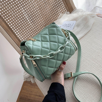 Solid Color PU Leather Bucket Bags For Women Brand Fashion Zipper Totes Chain Shoulder Crossbody Bag Female Handbags Lady Purse