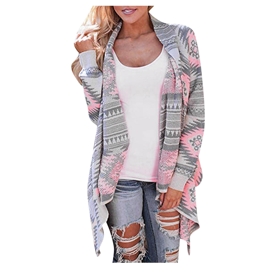 Women Cardigan Sweater Oversized Print Outerwear Long-Sleeve Loose Casual Geometric Grils