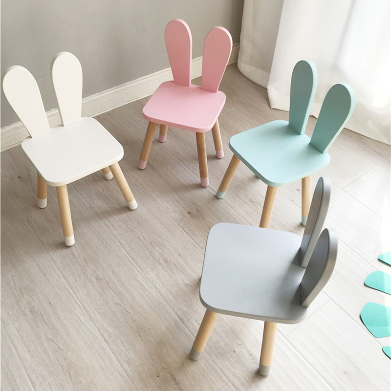 Hot Nordic Style Wood Desk Chair For Kids Cute Children Furniture High Quality Beech Wood Kids Room Furniture Rabbit Ear Design