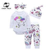 4 pièces nouveau-né bébé fille vêtements ensembles infantile mode licorne Pegasus étoile coeur château hauts pantalons chapeau bandeau bébé fille vêtements