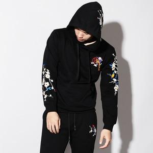 Image 5 - Sweat à capuche pour hommes, pull en coton avec broderie Sakura, style japonais, Streetwear, style Harajuku, automne 2019