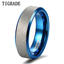TIGRADE NEW Men Ring Tungsten Carbide Blue with Silver Frosted 6mm For Wedding Engagement Band Unisex Party Rings Size5-12