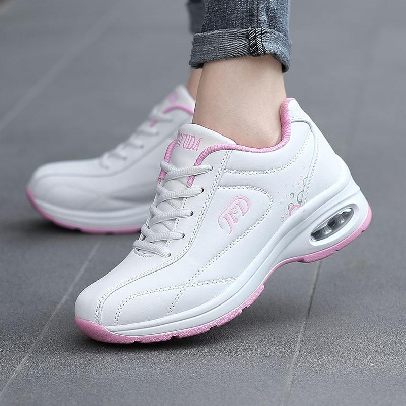 PU Leather Running Shoes Women Soft Air Cushioning Sneakers White Black Damping Non Slip Ladies Trainers Basket Walking Sports 1