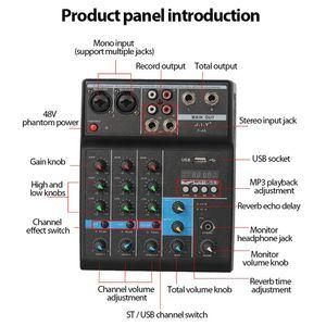 Image 2 - Console de mixage Audio professionnelle de mélangeur de bluetooth de 4 canaux avec leffet de réverbération pour le karaoké à la maison