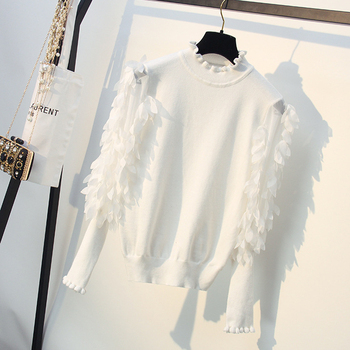 цена на Ruffled Collar Knitted Women Sweater Spring Autumn Loose Jumper Fashion Flowers Sleeves Sweater and Pullover Femme Pull
