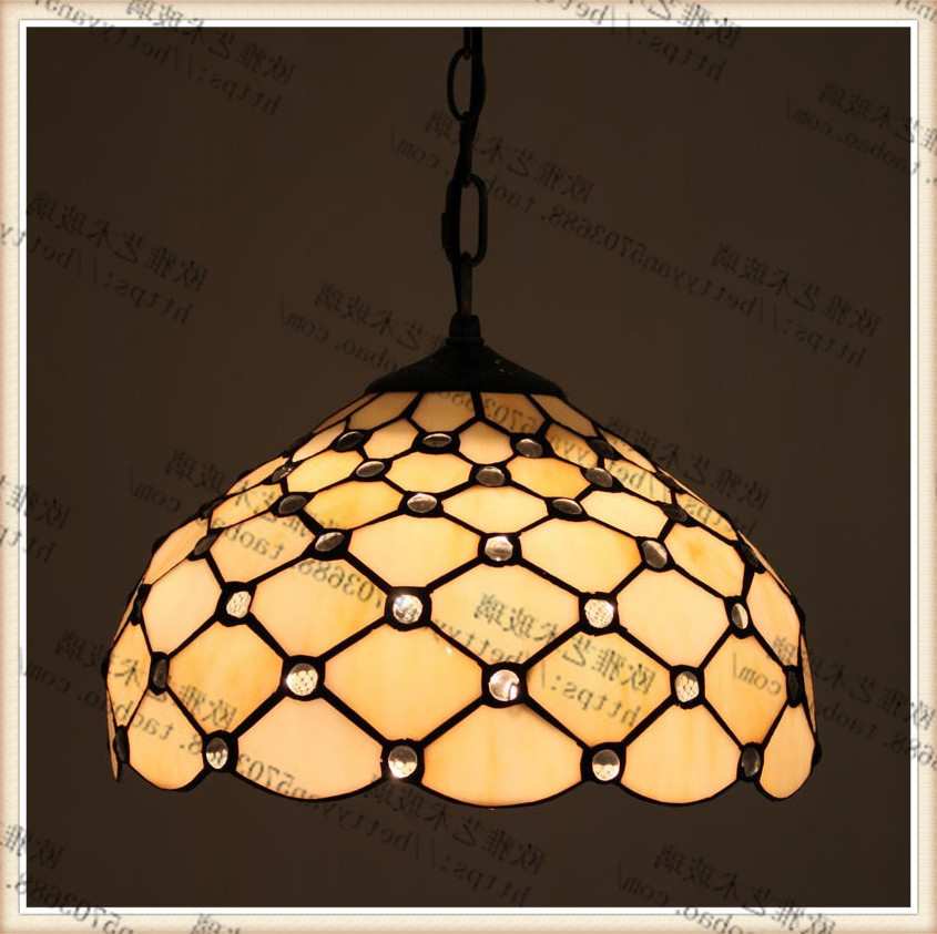 Tiffany Stained Glass Blue Ceiling Glass Lamps Mediterranean Style 20/30/40/50/60cm With E27 Led Chain Pendant Light Luminarias