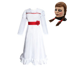 MeetLife Annabelle Costume per le Donne I Bambini Horror Spaventoso Ruolo Cosplay White Party Dress Costume di Halloween Annabelle Maschera con Parrucche