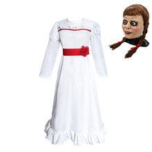 MeetLife Annabelle kostüm kadınlar için korku korkunç rolü Cosplay parti beyaz elbise cadılar bayramı kostüm Annabelle maskesi peruk