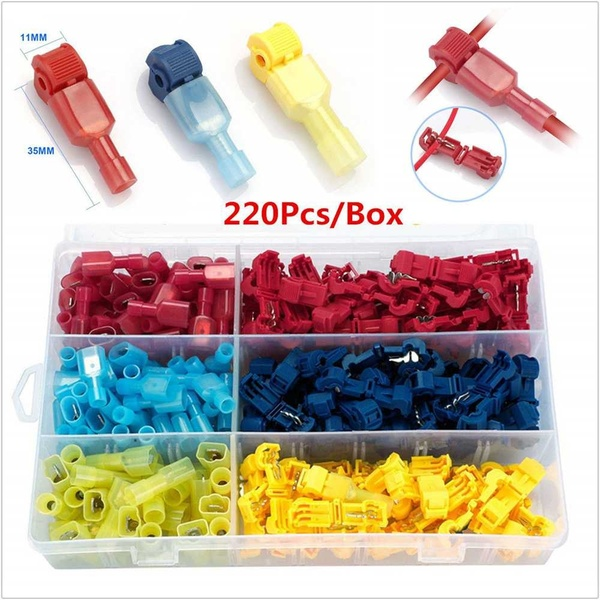 220pc Assortment Insulated Quick Splice Crimp Terminals T Tap Kit Male Spade Wire Connectors Kit Assortment Terminals    - title=