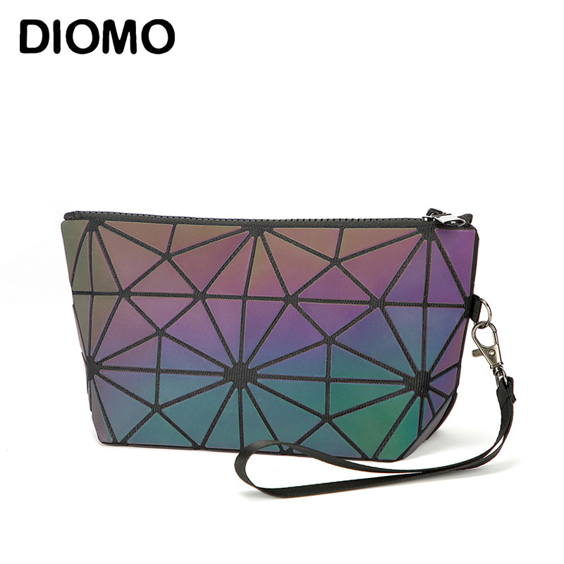 DIOMO Comestic Bags Women Designer Fashion Luminous Geometric Purse Ladies Make Up Bag Wristlets For Girls