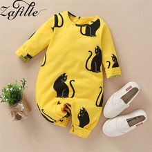 ZAFILLE 2020 Baby Romper Unisex Long Sleeve Newborn Clothes Infant Cat Printed Baby Jumpsuit 2020 Cotton Baby Boy Girl Clothing zafille long sleeve baby romper printed baby boy clothes cotton newborn infant baby girl clothing kids clothes baby jumpsuits