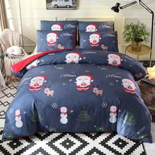2/3Pcs Bedding Set Christmas Santa Snowman Tree Elk Print Soft Bed Quilt Cover Pillow Case Duvet Cover Flat Sheet Pillowcases(China)