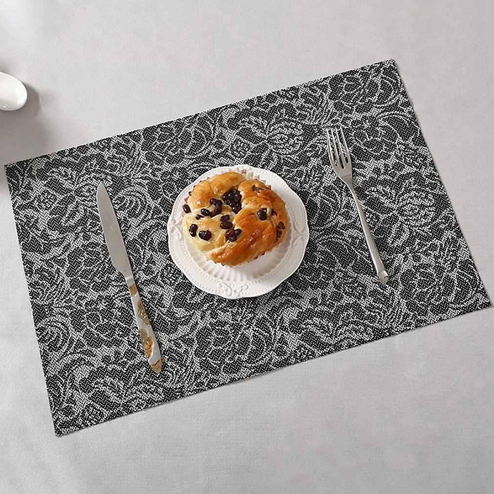 Placemat ฉนวนกันความร้อนแผ่นกันน้ำแผ่นตารางยุโรปตะวันตก Coaster ชามอาหารแผ่น PVC Tableware PAD ผ้า