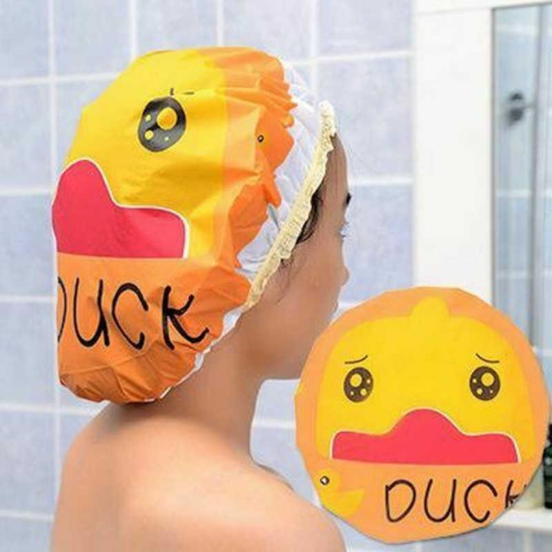 Gorro de banho feminino para banho e saunas laço com faixa elástica boné de spa para mulher e crianças