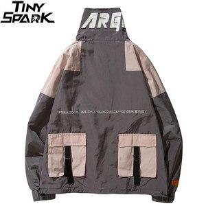 Image 4 - היפ הופ מעיל מעיל רוח גברים יפן Harajuku רב כיסי מעיל מעיל רטרו בציר מזדמן מסלול מעיל Streetwear 2019 סתיו