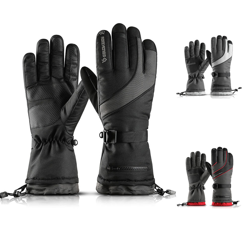 Men's Ski Gloves Fleece Snowboard Gloves Motorcycle Riding Winter Gloves With Snow Card Poceket Windproof Waterproof