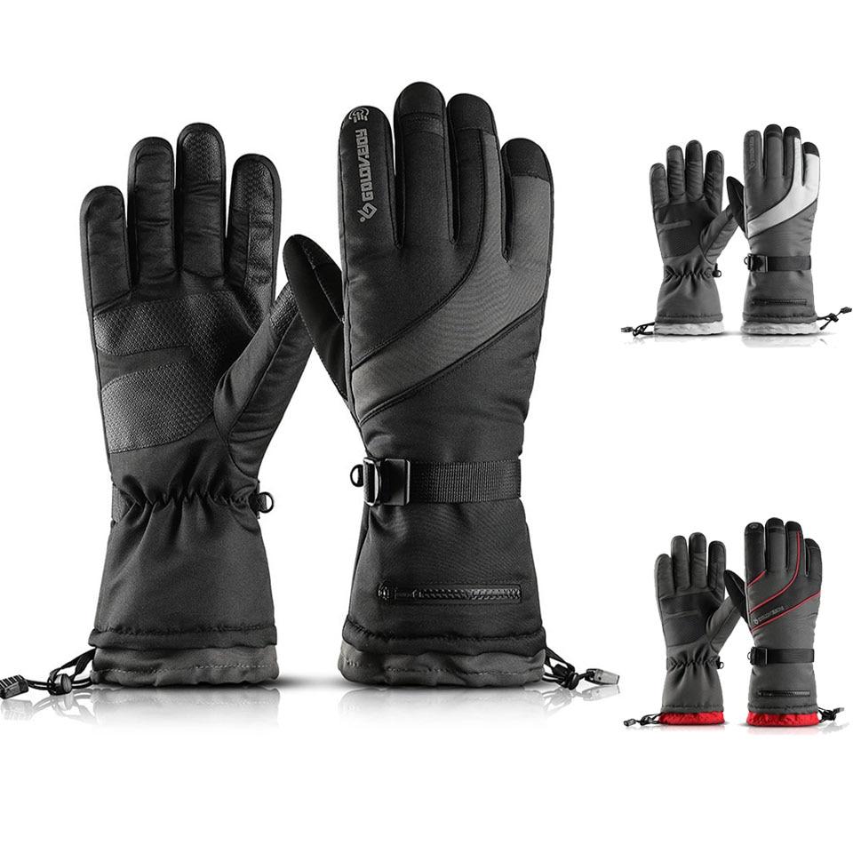 Men's Ski Gloves Fleece Snowboard Gloves Motorcycle Riding Winter Gloves With Snow Card Poceket Windproof Waterproof