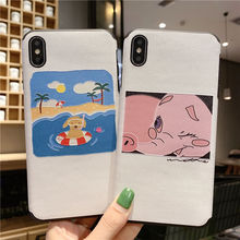 Jamular Cute swimming puppy and pink elephant pattern phone case for iphone 6 6s 7 8 Plus X XR XS MAX back cover
