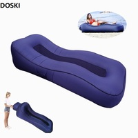 2019 New Inflatable Sofa Air Bed Outdoor Folding S type Lazy Air Couch Breathable Mesh Beach Lounge Outside Garden Furniture