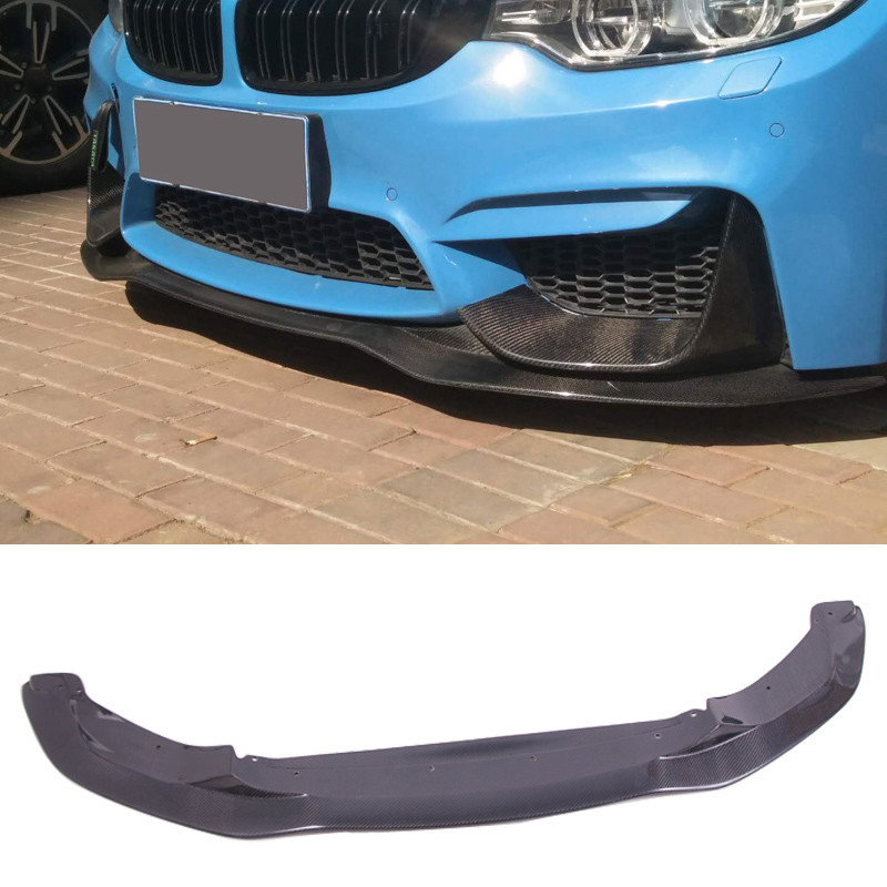 2Pcs Real 3k Carbon Fiber Front Bumper Lip Body Kit Diffuser Canard Splitter 06S