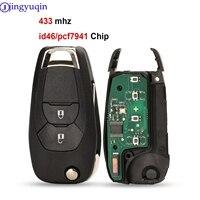 Jingyuqin Klapp Geändert 3 Tasten Smart-Remote-Key Fob Für Chevrolet Cruze 2014-2018 433 MHZ Mit ID46 PCF7941 chip