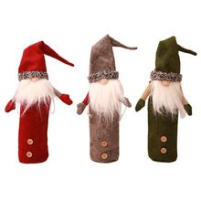 Christmas Swedish Gnome Red Wine Bottle Cap Cover Faceless Doll Santa Home Decor 2019 New