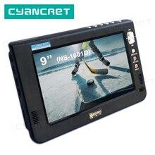 DVB T2 de TV portátil para coche pequeño tdt, NS 1001D de televisión Digital y analógica de 9 pulgadas, para soporte de Monitor, HDMI, PVR, H.265, AC3