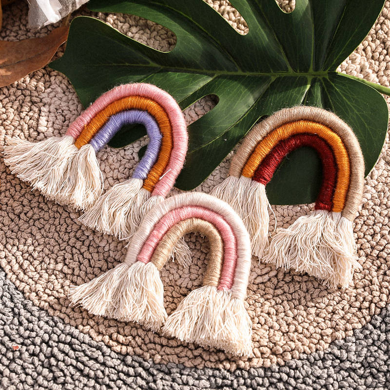 Baby Toys Children Home Decoration Accessories Rainbow Handmade Weaving Ornament Nordic Fresh Simple Baby Play Gym Accessories