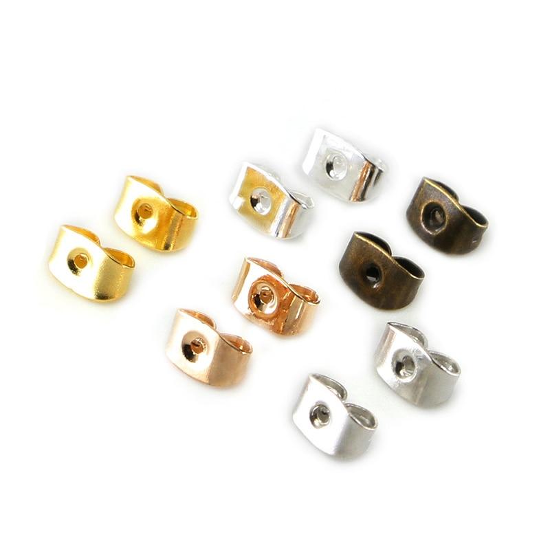 200pcs/lot Earring Studs Backs Stopper Scrolls Ear Post Butterfly For Jewelry Making DIY Blocked Caps Earring Backs Stoppers Ear