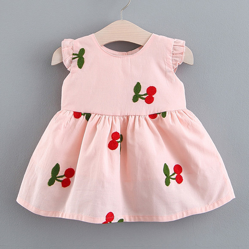 Girls Baby Dresses 2020 New Fashion Toddler Baby Cherry Dresses Lovely Infant Costumes Kids Girls Baby Cute Clothing