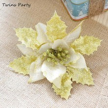 Twins 10Pc Wholesale 17cm Christmas Glitter Flower Wedding Artificial Merry Tree Ornaments 2019 Happy New Years