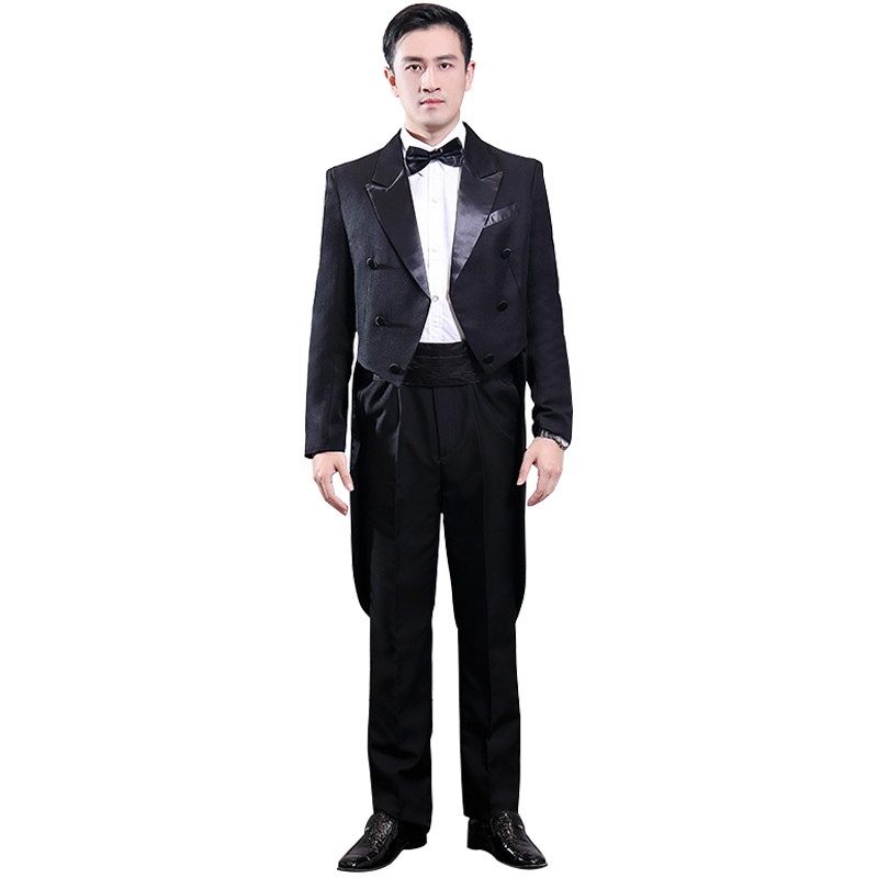 Fashion Man Magician Clothes Black Light Version Tuxedo Married Groom Groomsman Costume Hotel Waiter