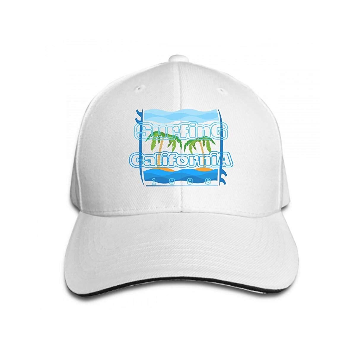 Adjustable Contrast Color Hip Hop Baseball Hats ts surf la Beach California Surfing Inscription Typography GRAP White