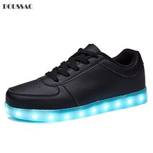 KRIATIV Black Shoes USB Charging Kids Boy Girl LED Light Up Glowing Sneakers Luminous Dancing Women Footwear