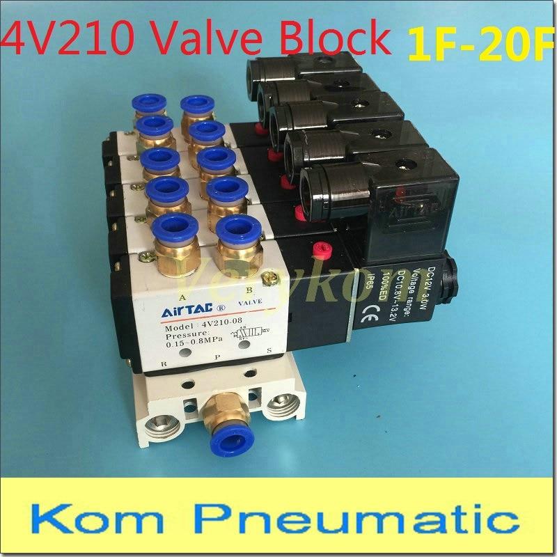 4V110-06 DC24V Quintuple Solenoid Valve Mufflers 6mm Quick Fittings Base Set