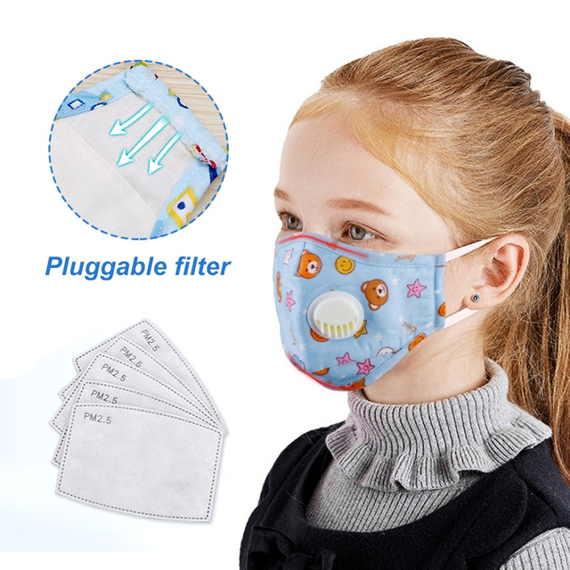 3 PCS Cartoon PM2.5 Children Mask With 6 Filters Breath Valve Mouth Face Mask Kids Washable Mask Dust-proof Sterile In Stock 1