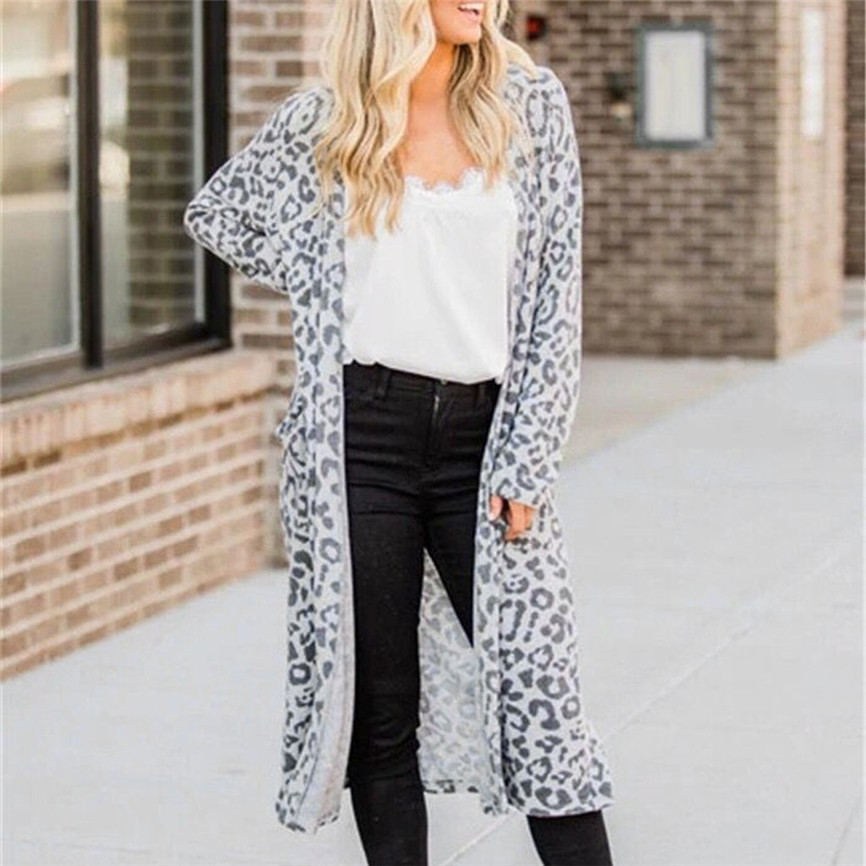 Fashion Fall Sweaters Women Long Sleeve Cardigan Casual Leopard Loose Outwear Tops Trench Coat Manteau Femme