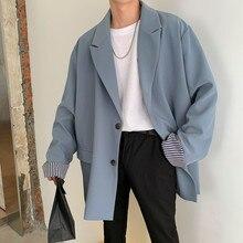 Veste automne hiver mode coréenne 2019, chemise ample pour jeunes populaire, couleur unie, bleu Beige/noir, costume décontracté