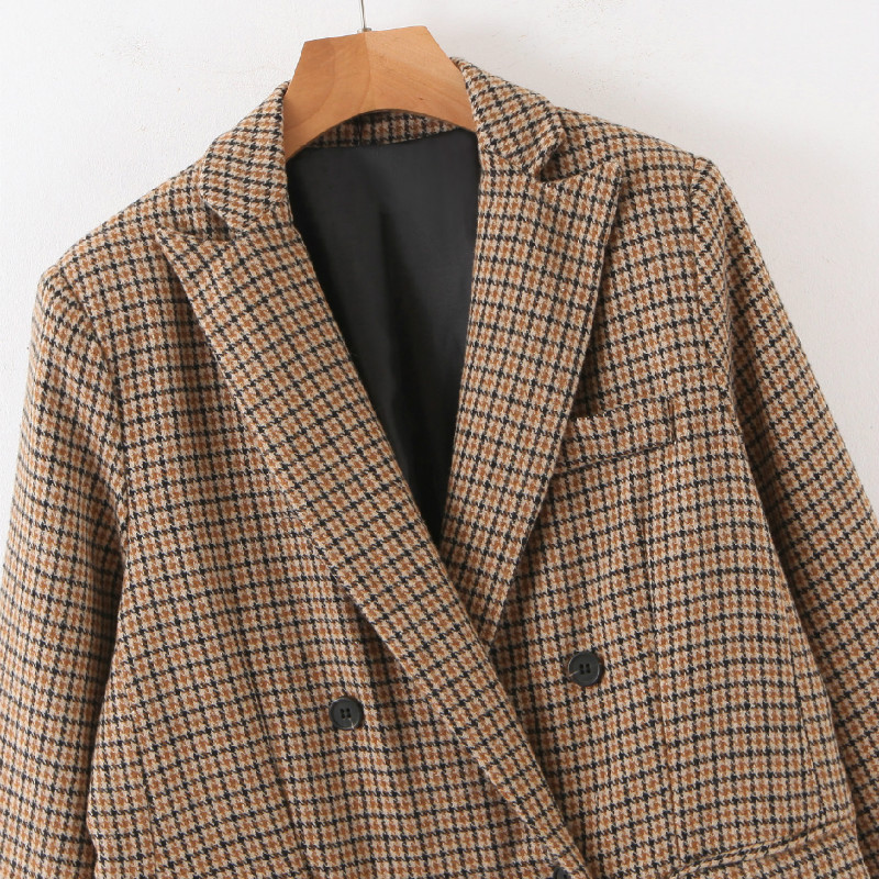 New Checked Women's Jacket 2020 Casual double-breasted blazer feminine Stylish mid-length loose suit