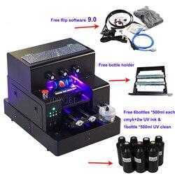 Полностью автоматический УФ-принтер A4 UV Led планшетный бутылочный принтер с 3500 мл набор УФ-чернил для чехол для телефона цилиндрическая древ...