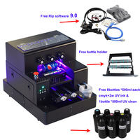 Full automatic UV printer A4 UV Led flatbed Bottle Printer with 3500ml UV ink set For phone case Cylinder wood glass printing