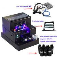 Pieno automatico stampante UV A4 Led UV flatbed stampante Bottiglia con 3500ml di inchiostro UV set Per La cassa del telefono Cilindro legno di stampa di vetro