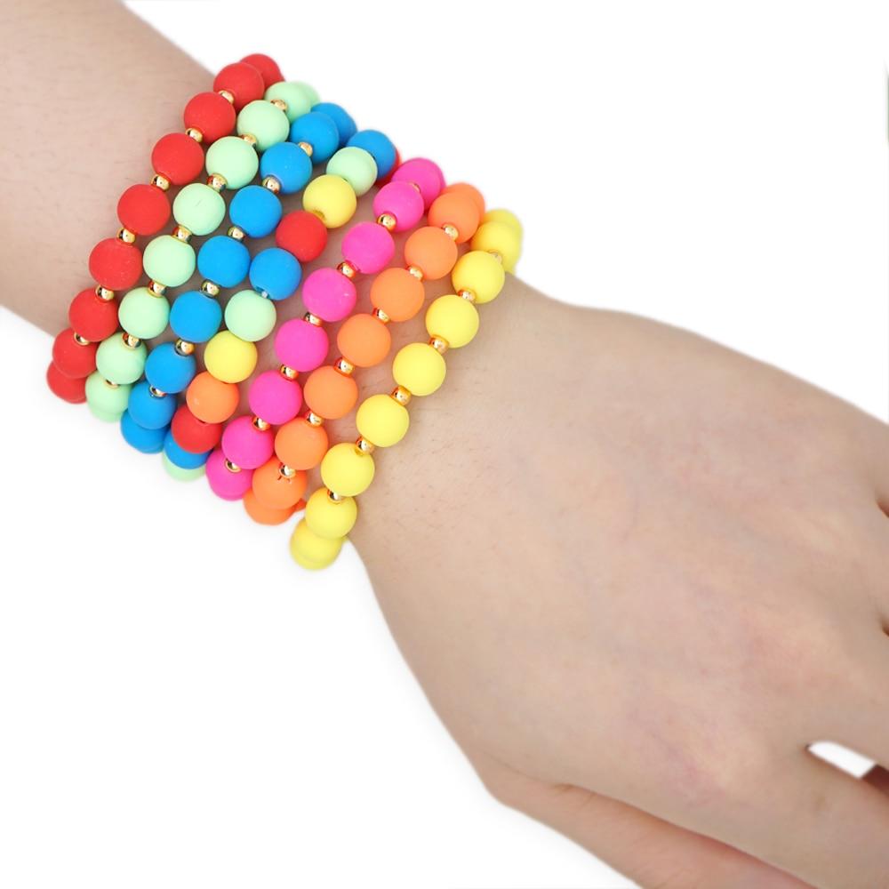 GO2BOHO 2020 New Colorful 8mm Beads Bracelet For Women Summer Handmade Bracelets Jewelry Multicolor Beads Pulseras Mujer Moda