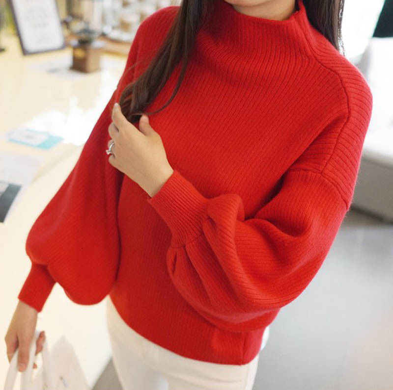 New Winter Women Solid Sweaters Fashion Lantern Sleeve Pullovers Loose Knitted Sweaters Female Jumper Tops