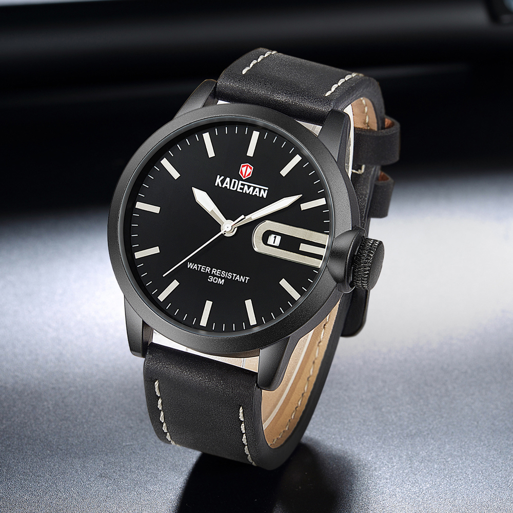 KADEMAN Casual Fashion BRAND Relogio Masculino Mens Watch Leather Strap Military Army Waterproof Big Dial Calendar Watch Mens in Quartz Watches from Watches