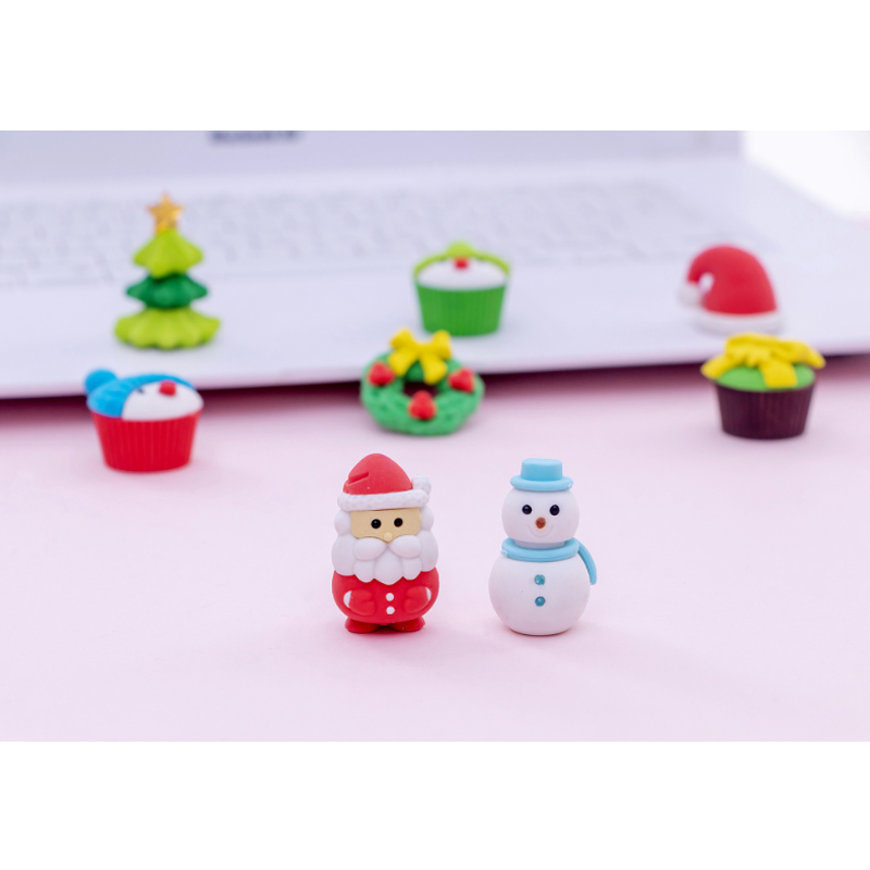 10set/lot Original Santa Snowman Gift Cartoon Erasers School Prizes Kid Gifts Wholesale